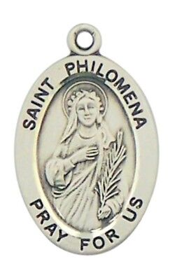 """Patron Saint Philomena 7/8"""" Oval Sterling Silver Medal on Rhodium Plated Chain"""