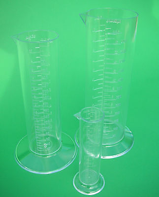 PHOTOGRAPHIC CHEMICAL MEASURING CYLINDER 650CC AND 300CC and 50ML SET OF 3