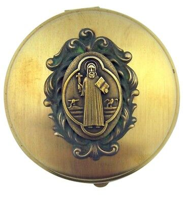 Antique Finish Saint St Benedict Medal on Round Brass Relic Rosary Box or Pyx