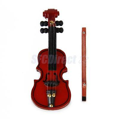 12th Scale Dollhouse Miniature Wooden Handmade Violin & Bow Musical Instrument