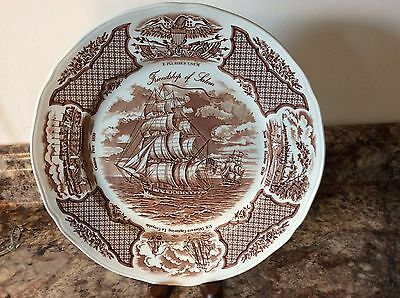 """Alfred Meakin Staffordshire England-Sailboat Scene Fair Winds ~10"""" dinner Plate"""