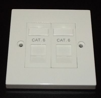 Cat6 RJ45 Double Face Plate (Gigabit Ethernet Network 2 Port Wall Data Socket)
