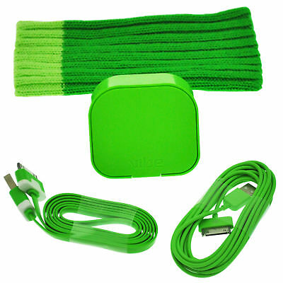 4 bundle kit - Green Sock cover mains adapter 2 USB data sync leads for iPhone