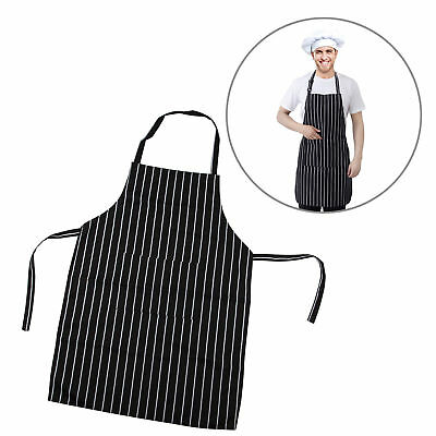 TRIXES Professional Kitchen Chef Cooking Apron Black & White Stripe