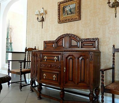 Antique Vintage English Buffet Sideboard 1900s Carved Solid Wood in Los Angeles