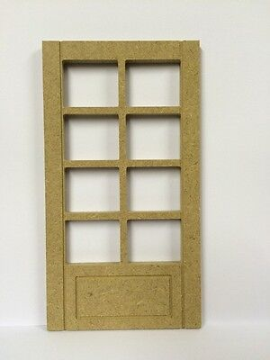 Georgian MDF Door With Eight Apertures, Doll House Miniature Fixture & Fittings