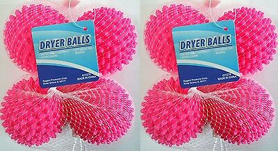 Dryer Balls 4 or 8 Pink- Reusable Dryer Balls Replace Laundry Fabric Softener