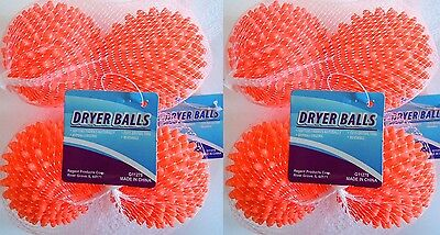 Dryer Balls 4 or 8 Orange - Reusable Dryer Balls Replace Laundry Fabric Softener