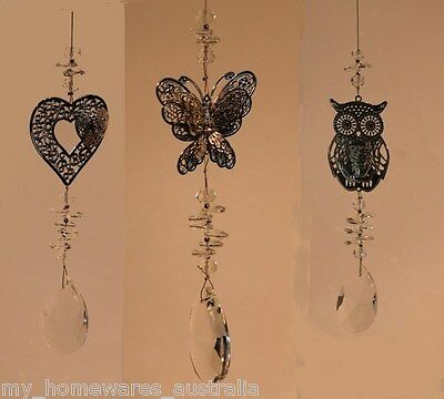 Crystal Sun Catcher - Choose from Heart, Butterfly or Owl - With 35mm Pendant