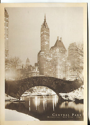 POST CARD OF CENTRAL PARK AT NIGHT IN WINTER,  NEW YORK CITY TAKEN  IN 1961