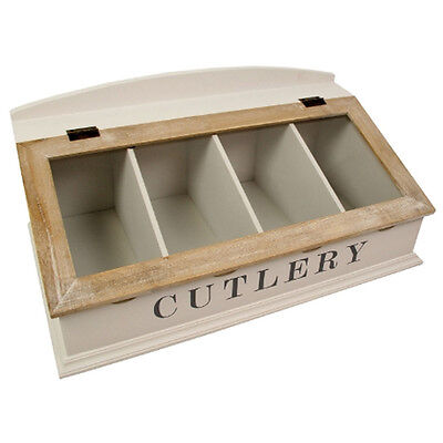 Cutlery Holder Unit Rack Drawer 4 Compartment Tray Lid Kitchen Utensil Organiser