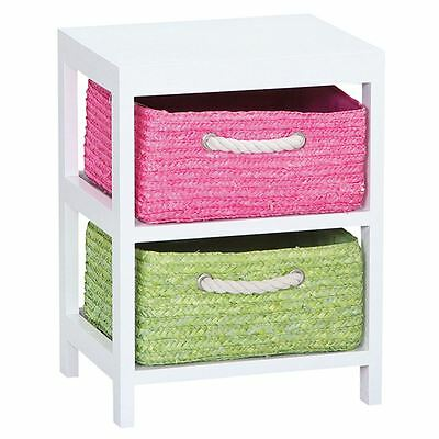 2 Drawer Wood Basket Drawers Multi Cupboard Cabinet Unit By Home Discount