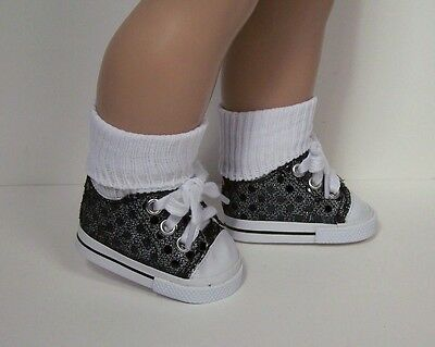 "BLACK Faux Sequin Tennis Sneakers Doll Shoes For 18/"" American Girl Debs"