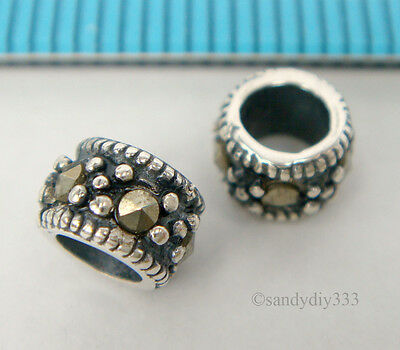 4x ANTIQUE STERLING SILVER MARCASITE STONE RONDELLE SPACER BEAD 5.4mm #1822