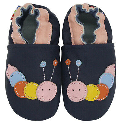 carozoo caterpillar dark blue 6-12m new soft sole leather baby shoes