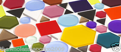 Acrylic Perspex Shapes Tinted Coloured Hexagon Triangle Square & Circles