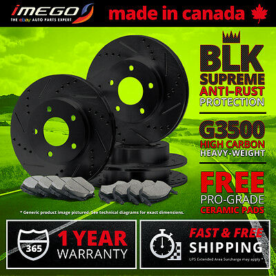 Front + Rear Kit | Black | Slotted & Drilled Brake Rotors and FREE Ceramic Pads