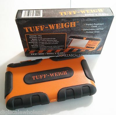 Digital Pocket Scale 100g x 0.01g TUFF Weigh Rubber Grip Protection TUF-100