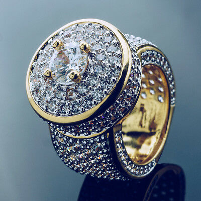 18K Gold CLUSTER ICED OUT Lab Simulated Diamond Band MICROPAVE Mens Bling Ring