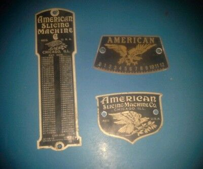 American Slicing Machine Co. Meat Slicer plastic decals  lot of 3  man cave