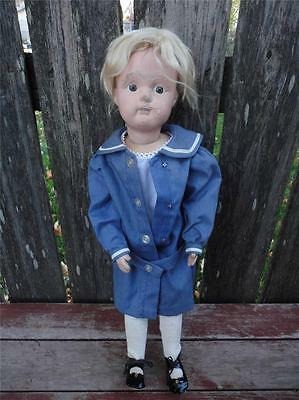 """Antique 1911 Schoenhut Jointed Wood Character Doll w Outfit  21 1/2"""" tall"""