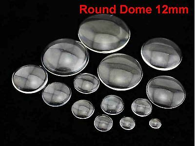 100 Transparent Round Flatback Glass Cabochon Dome 12mm No Hole