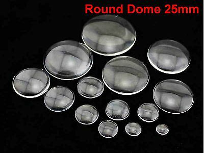 20 Transparent Round Flatback Glass Cabochon Dome 25mm No Hole