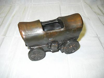 """Vintage Metal Covered Wagon Match or Toothpick Holder 3"""" x 2"""" Trophy Craft #5342"""