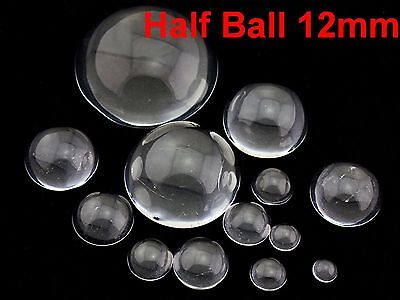 50 Transparent Flatback Glass Half Sphere Ball Cabochon 12mm No Hole