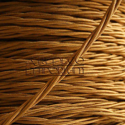 High Quality 3 Core Braided Lighting Twist Flex 0.50mm 3Amp Per 1m Antique Gold