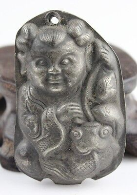 Ancient  Chinese Old Silver pendant The child and fish pendant 年年有鱼002