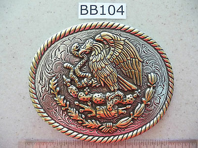 BB104 One Large Beautiful Detail Coat of Arms of Mexico Belt Buckle 4 x 5 inch