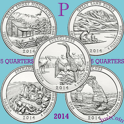 2014-P National Park Five Quarters Yearly Complete Set Uncirculated U.s.mint