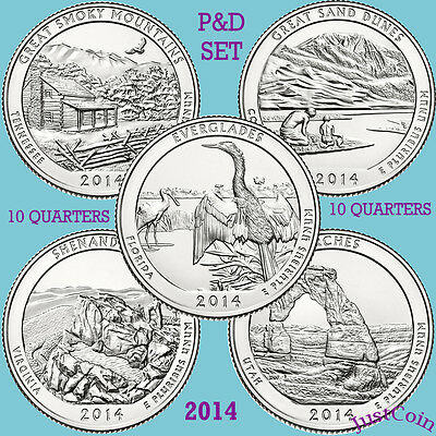 2014 P&d National Park Ten Quarters Yearly Complete Set Uncirculated U.s.mint
