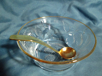 VINTAGE GLASS BERRY/MAYONAISE BOWL WITH GOLD TRIM  AND GOLDEN SPOON