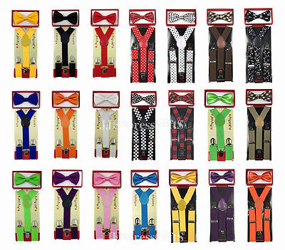Kid's Suspender Bow Tie Combo Matching Colors Sets for Boys Girls Child