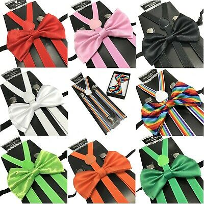 Black Kid's Suspender Bow Tie Combo Matching Colors Sets for Boys Girls Child