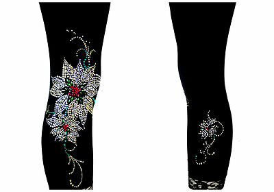Regular Capri Length Leggings Rhinestone Embellished Gold & Silver Poinsettia's