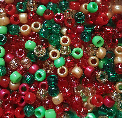 100 Christmas Festive Mix Red Green Gold Pearl Glitter Pony Beads Loom Dummy
