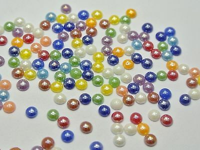 1000 Mixed Color Luater AB Round Flatback Glass Cabochon Ceramic Half Pearl 4mm