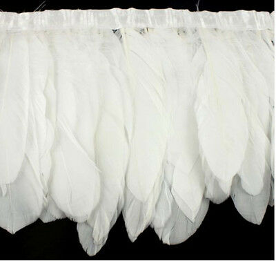 2m Goose Feather Fringe Ribbon Trim Sewing Trimming Costume Millinery Craft