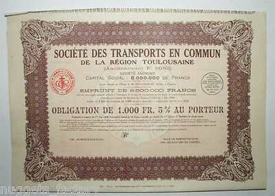 Obligation: Sté des transports en commun region Toulousaine F. Pons ( 562 )
