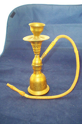 Saudi Arabian Vintage Hookah Brass And Wood 8 3/4""