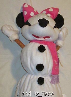 "Disney MINNIE MOUSE Plush Fleece Christmas Snowman COLLAPSIBLE 24"" Tall W/Tags"