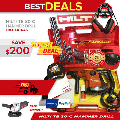 Hilti Te 30-C Avr Hammer Drill, Preowned, Free Grinder, Extras, Fast Ship