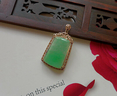 Noblest Natural Type A Emerald Icy Jadeite Jade Safety Pendant 18K Rose Gold