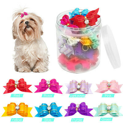 50/100pcs Bling Rhinestone Puppy Small Dog Hair Bows Grooming for Yorkie Samoyed
