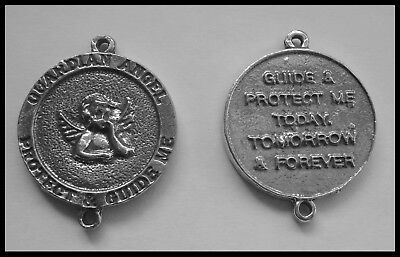 PEWTER CHARM #104 Guardian Angel Medallion double side 2 bail joiner (30mm x 25