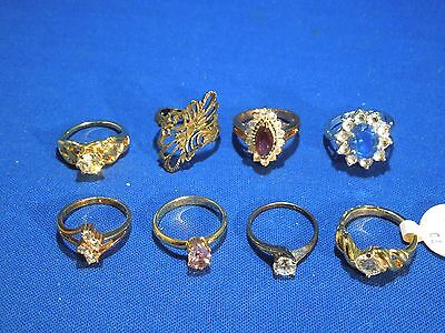 Lot of 8 Costume Rings Gold & Silver Tone with Costume Gems Sizes Vary 4.5 - 5.5