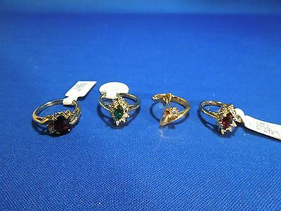 Lot of 4 Costume Rings Gold Electroplate with Gems / Stones Sizes Vary 4-7.5